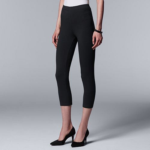 Vera Vera Wang Low-Rise Cotton Capri Leggings
