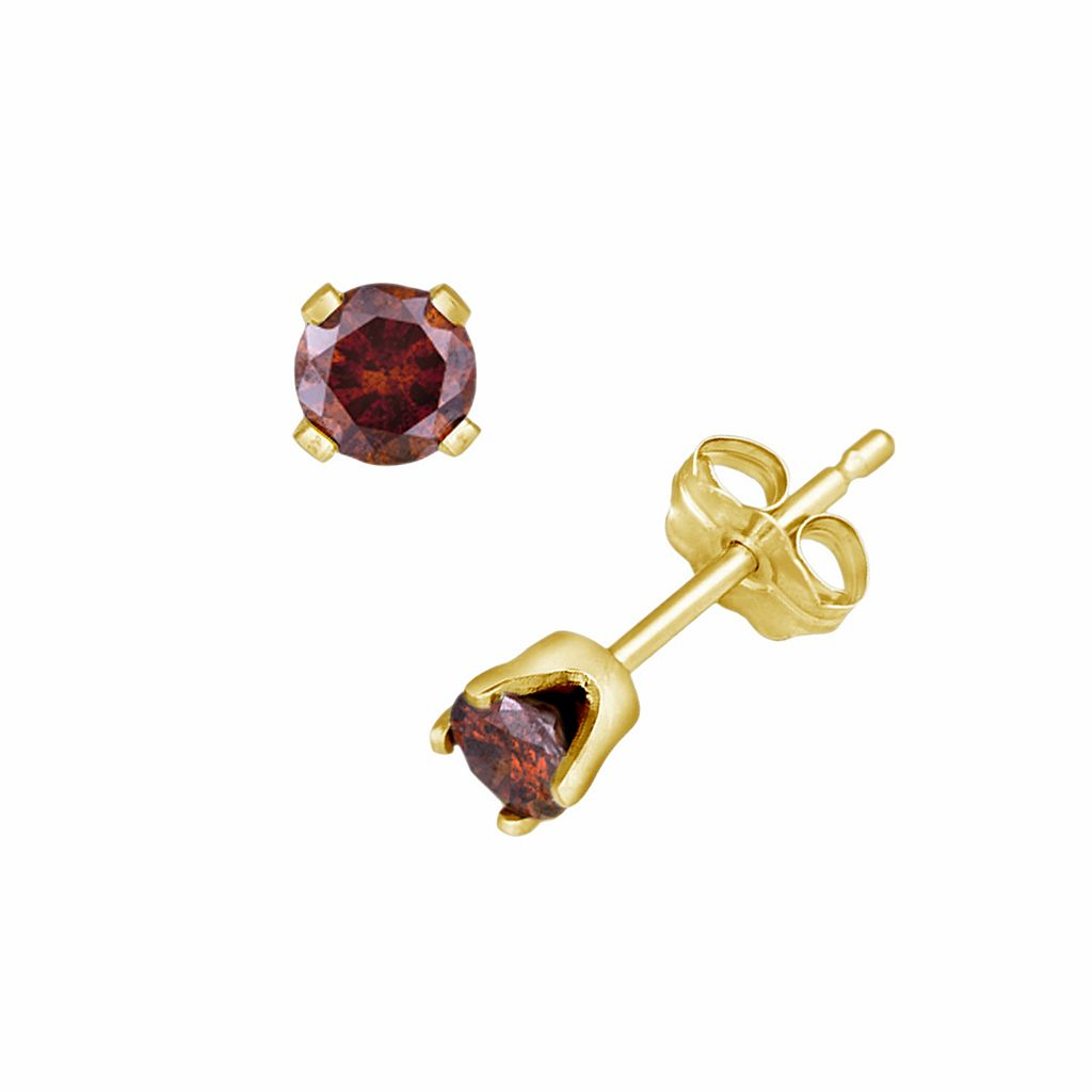 14k Gold 1/4-ct. T.W. Red Diamond Stud Earrings