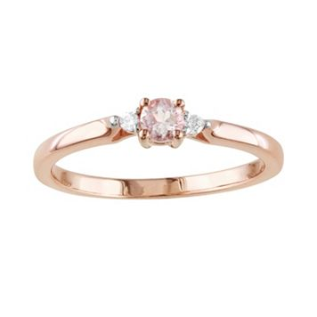 Rose Rhodium-Plated Sterling Silver Morganite & Diamond Accent Ring