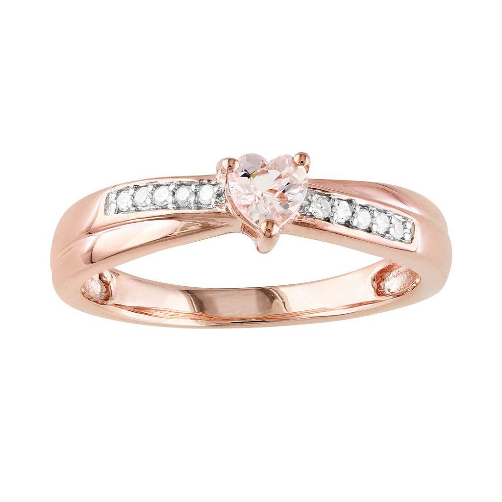 Rose Rhodium-Plated Sterling Silver Morganite & Diamond Accent Heart Crisscross Ring