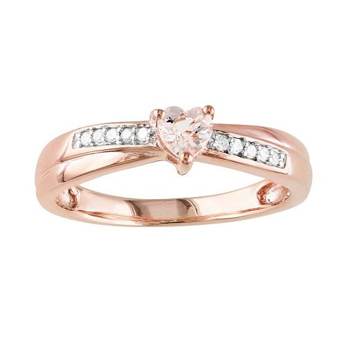 Stella Grace Rose Rhodium-Plated Sterling Silver Morganite and Diamond Accent Heart Crisscross Ring