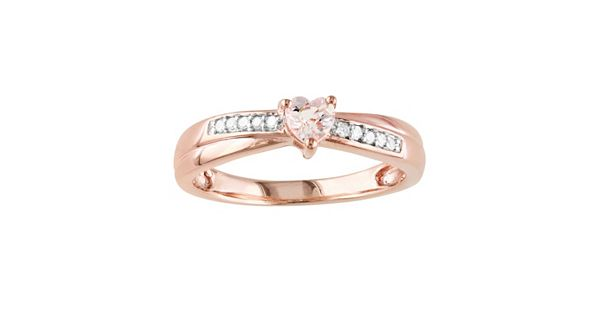 Rose Rhodium Plated Sterling Silver Morganite And Diamond