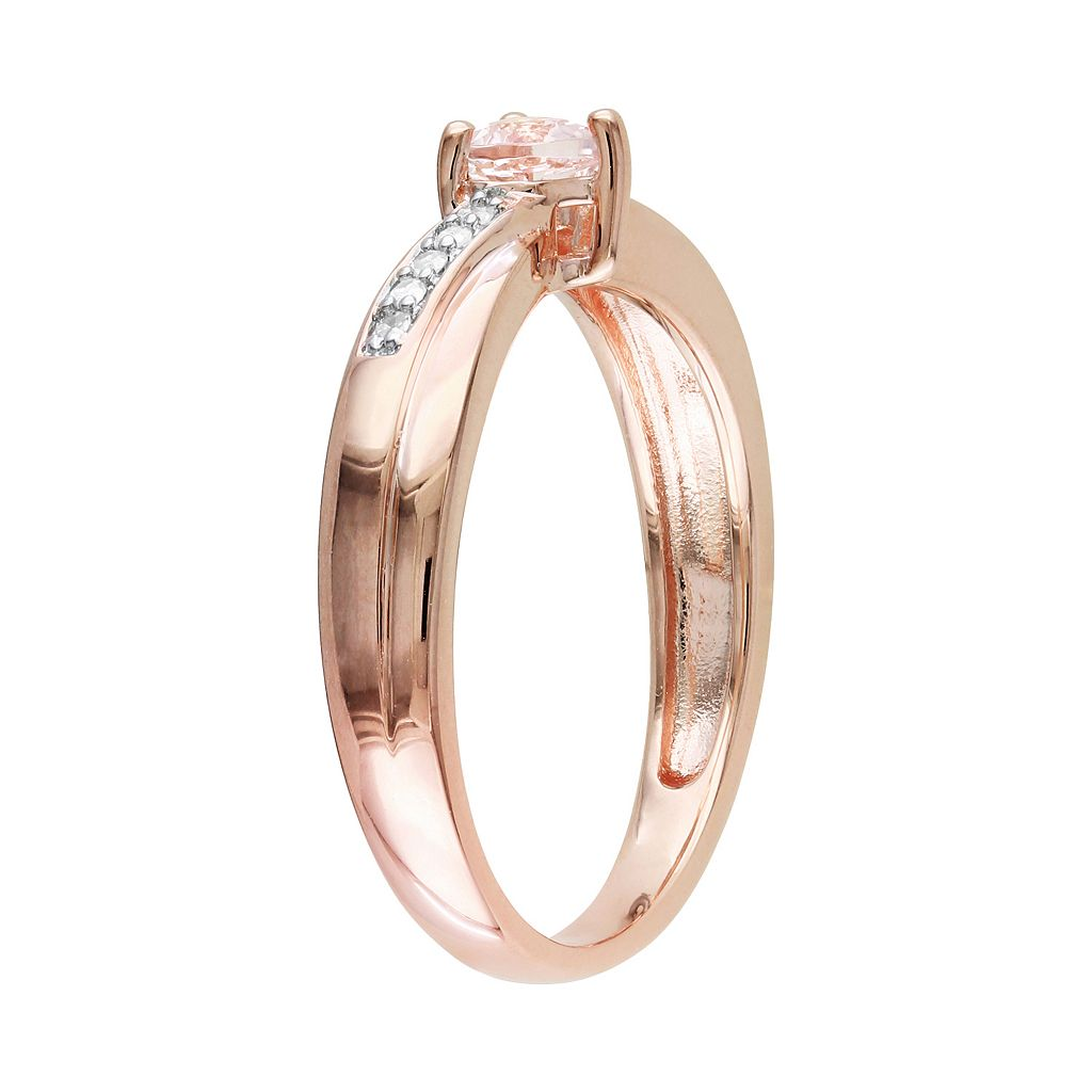 Rose Rhodium-Plated Sterling Silver Morganite and Diamond Accent Heart Crisscross Ring