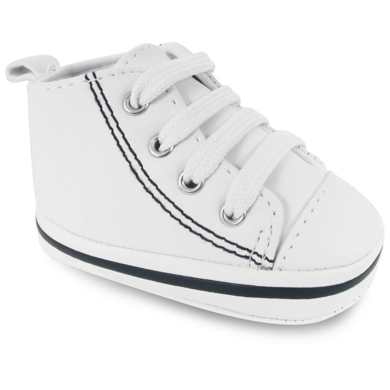 WEE KIDS HIGH TOP SNEAKER CRIB SHOES BABY WHITE