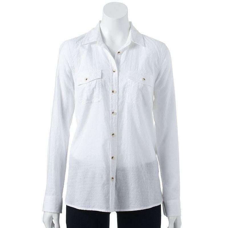 SONOMA life + style Dobby Camp Shirt - Women's Size X SMALL (White)