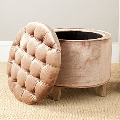 Safavieh Amelia Brown Tufted Storage Ottoman