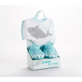 Baby Aspen Chomp and Stomp Shark Bib and Booties Set - Baby