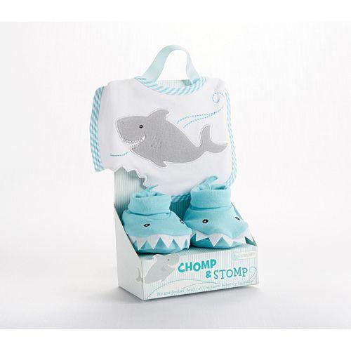 Baby Aspen Chomp & Stomp Shark Bib & Booties Set - Baby