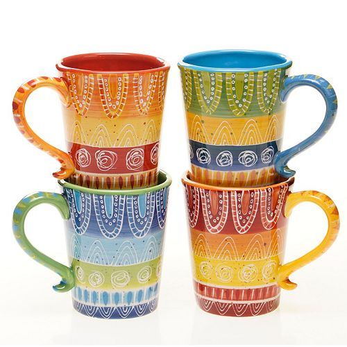 Certified International Tapas by Joyce Shelton Studios 4-pc. Mug Set