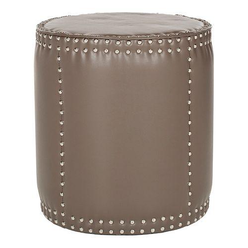 Safavieh Paula Leather Drum Ottoman