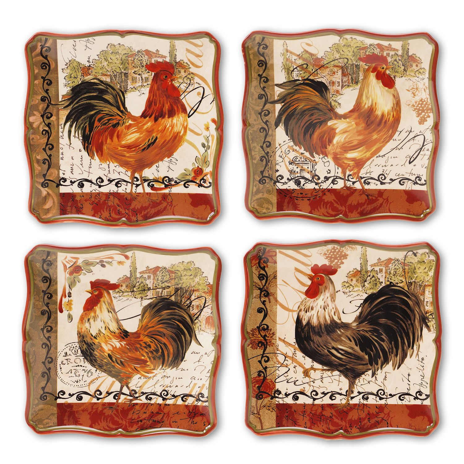 Certified International Tuscan Rooster by Pamela Gladding 4-pc. Square Dinner Plate Set & Certified International Tuscan Rooster by Pamela Gladding 4-pc ...