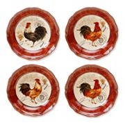 Certified International Tuscan Rooster by Pamela Gladding 4 pc Pasta Bowl Set