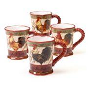Certified International Tuscan Rooster by Pamela Gladding 4 pc Mug Set