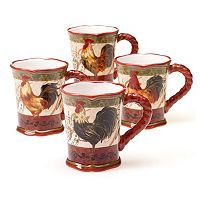Certified International Tuscan Rooster by Pamela Gladding 4-pc. Mug Set