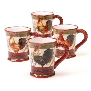 Certified International Tuscan Rooster by Pamela Gladding 4-pc. Mug Set