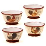 Certified International Tuscan Rooster by Pamela Gladding 4 pc Ice Cream Bowl Set