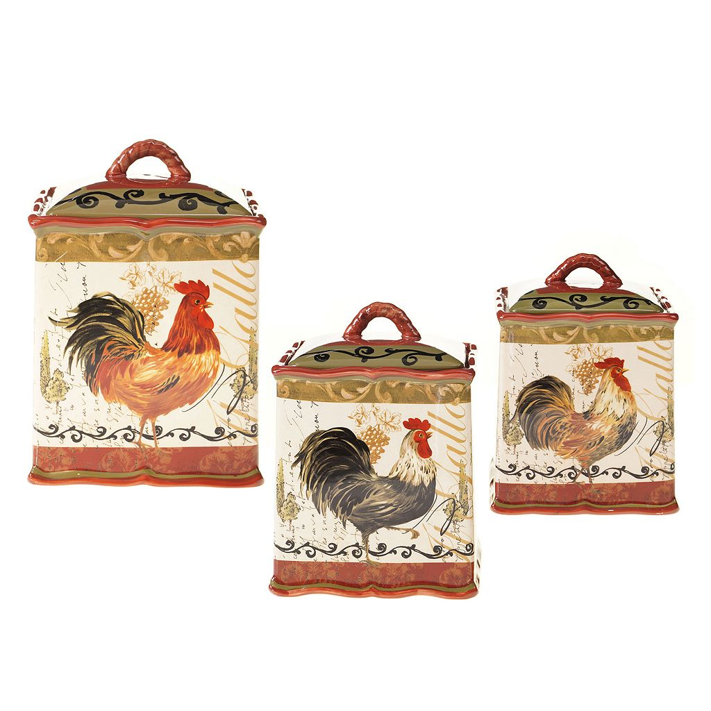 Certified International Tuscan Rooster by Pamela Gladding 3-pc. Kitchen Canister Set