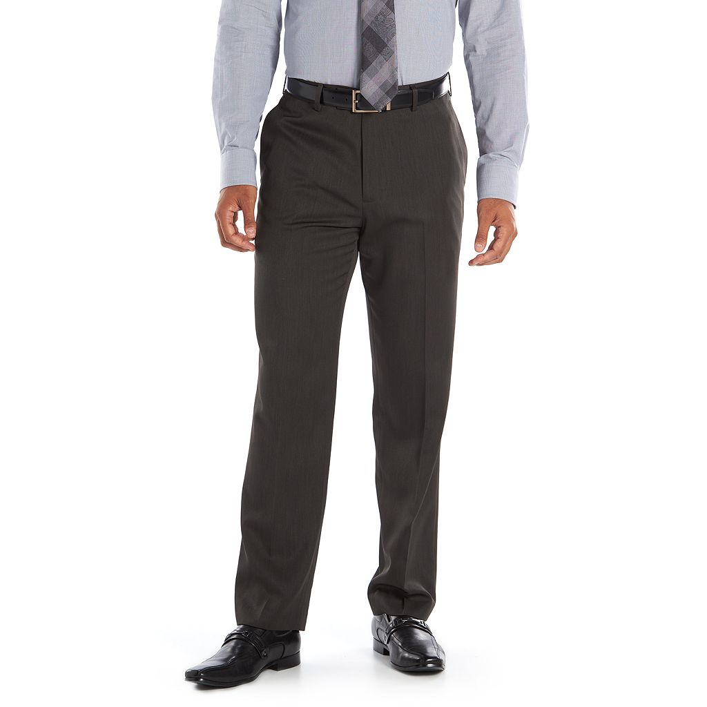 Men's Axist Ultra No Iron Melange Flat Front Dress Pants