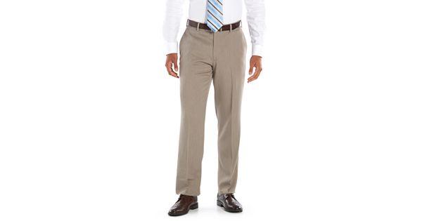 Men S Axist Ultra No Iron Melange Flat Front Dress Pants