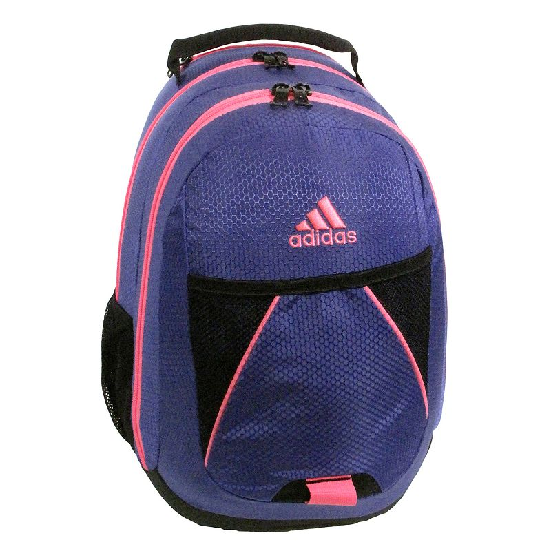 Adidas Dillon Backpack, Purple This Adidas Dillon backpack is perfect for all of your school supplies. This Adidas Dillon backpack is perfect for all of your school supplies. : Two main compartments provide sufficient storage space. Media Safe pocket ensures security of electronics. Dual side water bottle pockets carry beverages. Front pocket keeps items handy. Padded shoulder straps & back enable comfortable transportation. : 17'' H x 12'' W x 11''D Weight: 1.35 lbs Zipper closures Manufacturer's lifetime warrantyFor warranty information please click here Size: One size. Color: Purple.