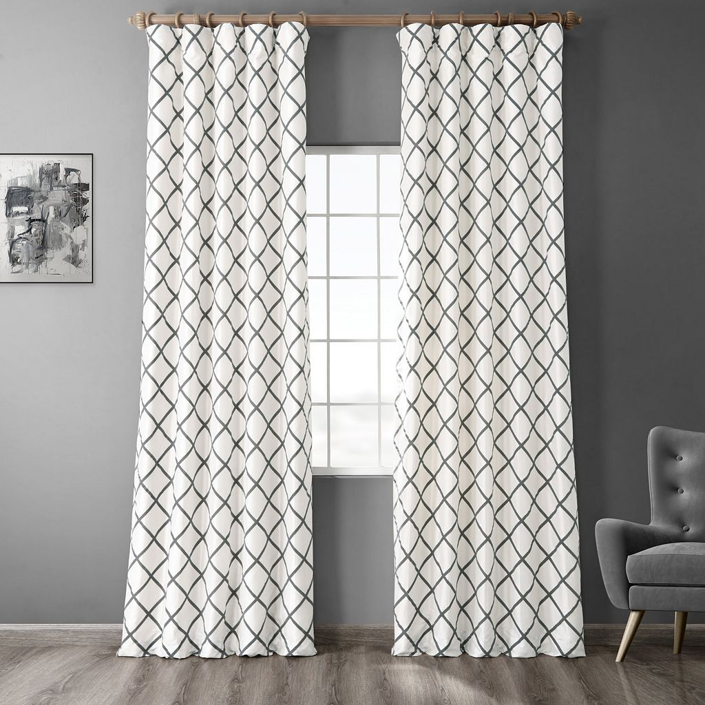 EFF Pavillion Flocked Faux-Silk Window Panel - 50'' x 84''