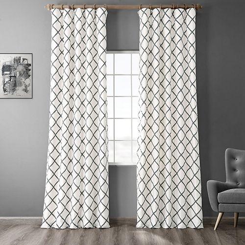 EFF Pavillion Flocked Faux-Silk Window Panel