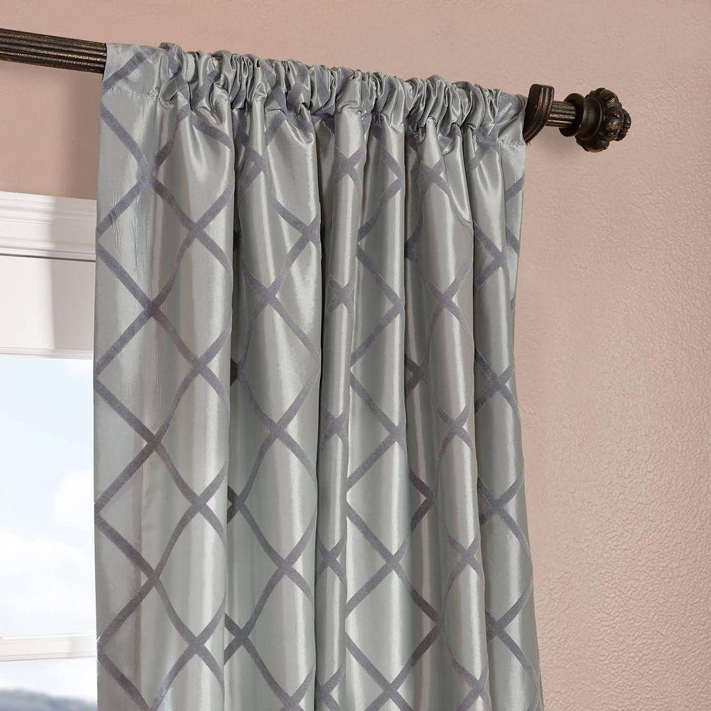 EFF Pavillion Flocked Faux-Silk Window Panel - 50'' x 108''