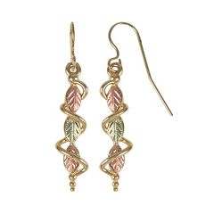 Black Hills Gold Tri-Tone Leaf Drop Earrings