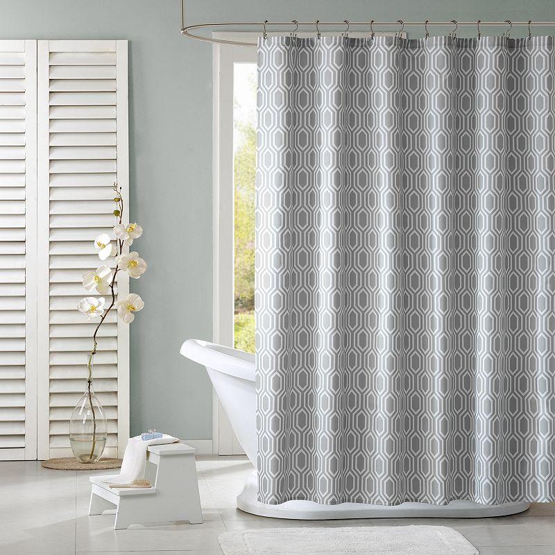 Intelligent Design Lexie Fabric Shower Curtain Grey