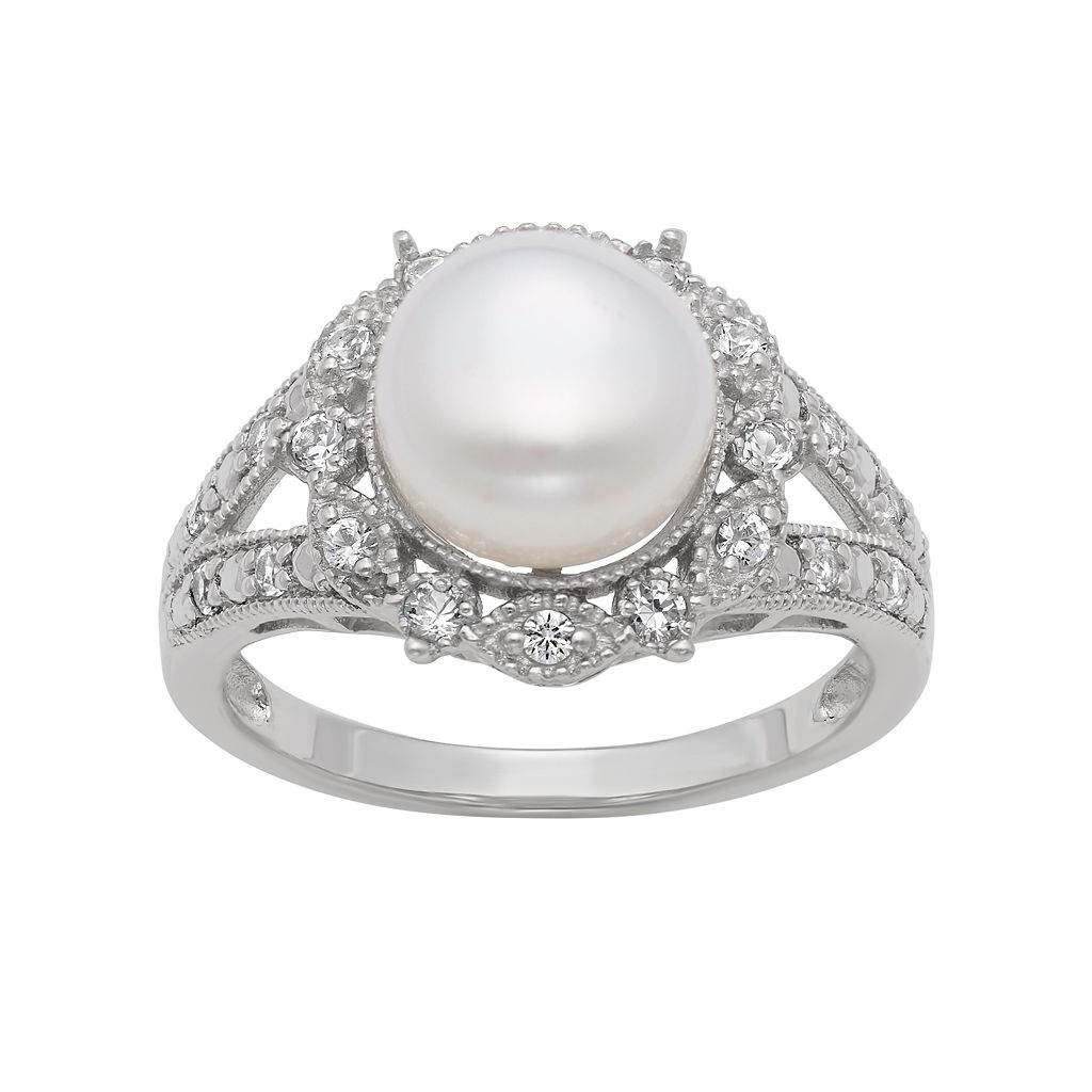 Sterling Silver Freshwater Cultured Pearl & Lab-Created White Sapphire Ring