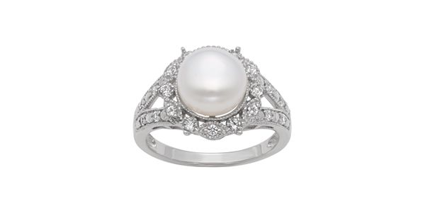 Sterling Silver Freshwater Cultured Pearl And Lab Created White Sapphire Ring