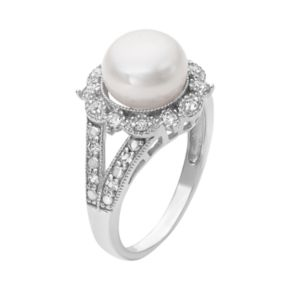 Sterling Silver Freshwater Cultured Pearl and Lab-Created White Sapphire Ring