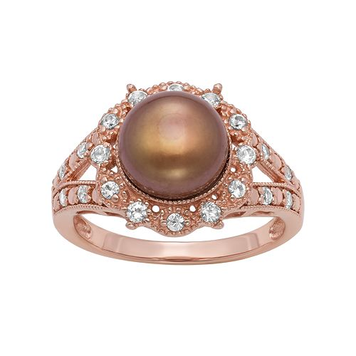 14k Rose Gold Over Silver Freshwater Cultured Pearl & Lab-Created White Sapphire Ring