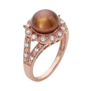 14k Rose Gold Over Silver Freshwater Cultured Pearl and Lab-Created White Sapphire Ring