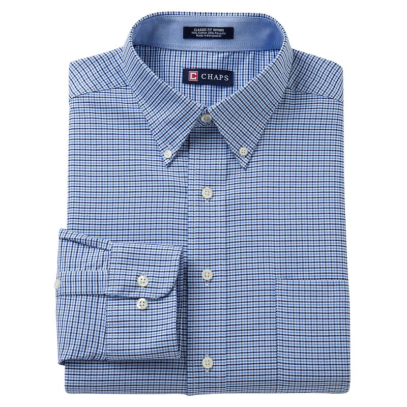 Chaps Classic-Fit Checked Oxford Button-Down Collar Dress Shirt - Men