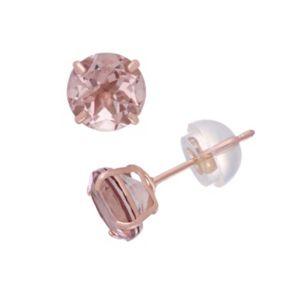 14k Rose Gold Simulated Morganite Doublet Stud Earrings