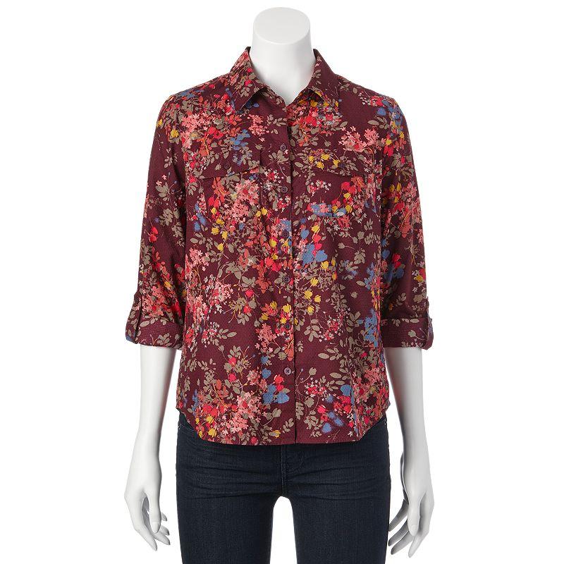 Croft & Barrow® Floral Roll-Tab Shirt - Petite