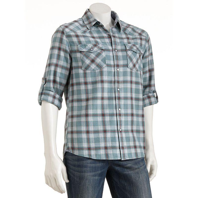Urban Pipeline Plaid Casual Button-Down Shirt - Men Size XL (Green)