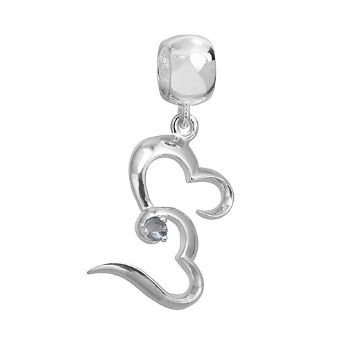 Individuality Beads Sterling Silver Crystal Double Heart Charm