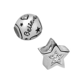 Individuality Beads Sterling Silver Cubic Zirconia Love, Believe and Star Bead Set