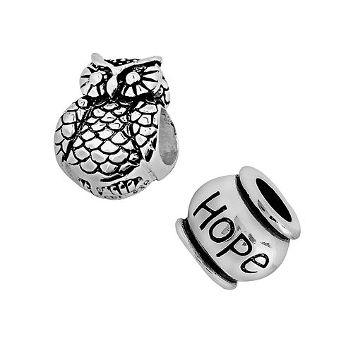 Individuality Beads Sterling Silver Hope & Owl Bead Set