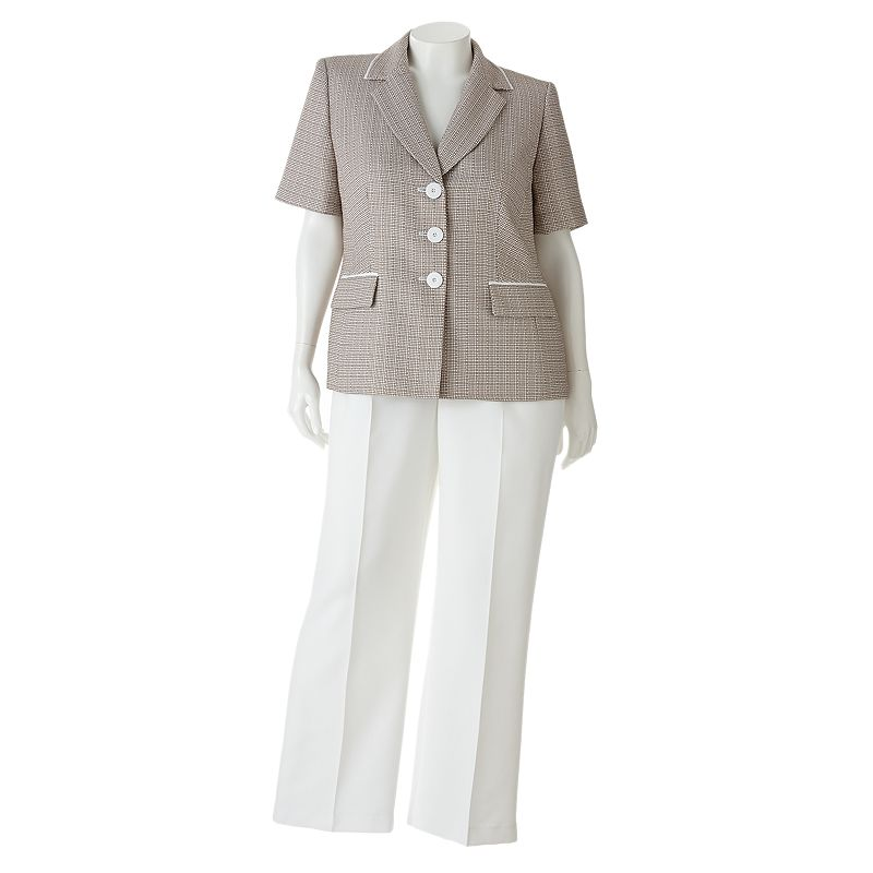 Gloria Vanderbilt Tweed Suit Jacket & Pant Set - Women's Plus