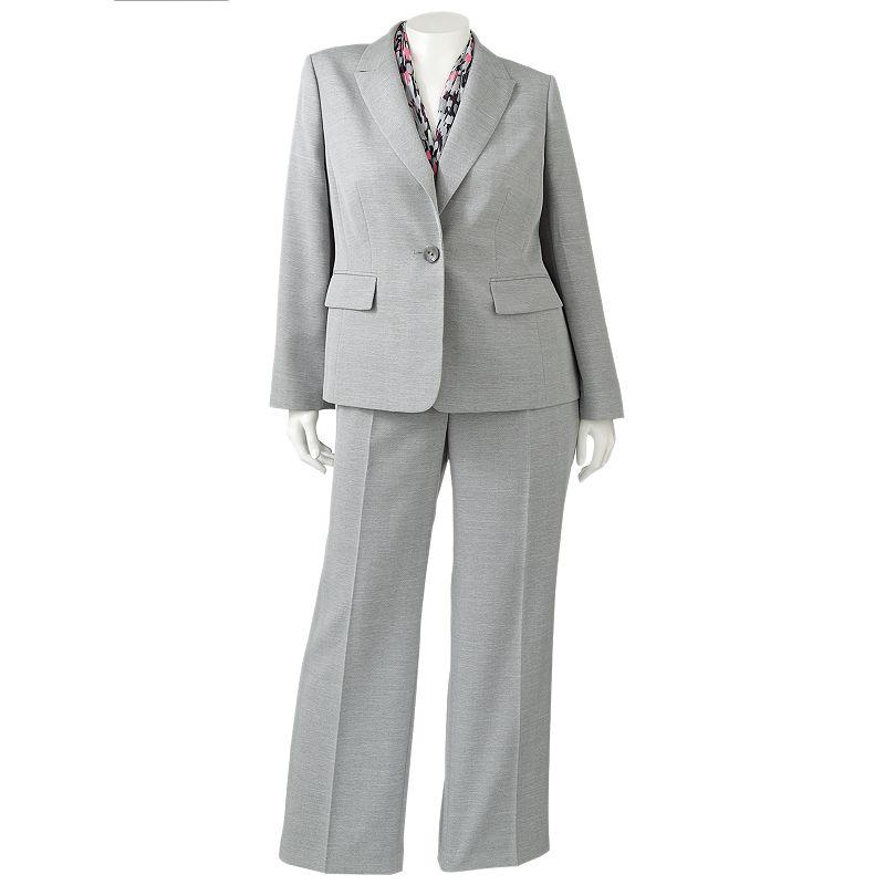 Gloria Vanderbilt Herringbone Suit Jacket, Pants & Scarf Set - Women's Plus