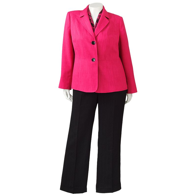 Gloria Vanderbilt Crosshatch Suit Jacket, Pants & Scarf Set - Women's Plus