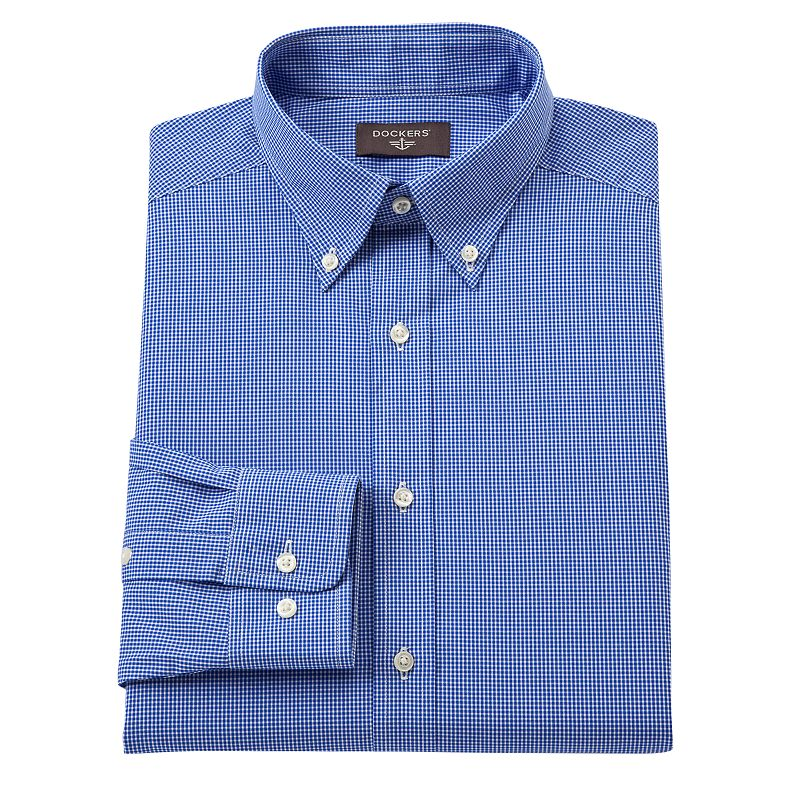 Dockers® Fitted Checked No-Iron Button-Down Collar Dress Shirt - Men