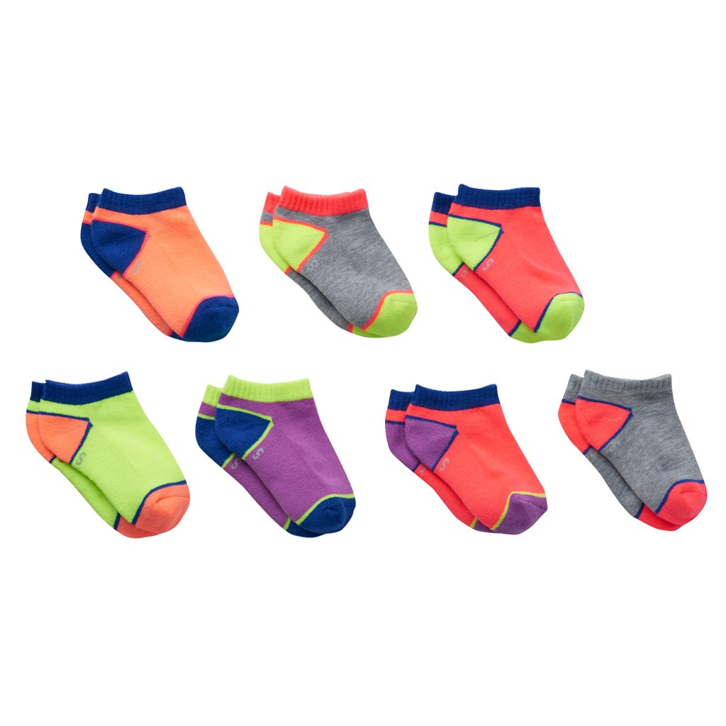 Girls 4-16 SO® 7-pk. Neon Colorblock Low-Cut Socks