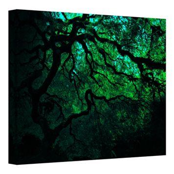 24'' x 32'' ''Japanese Dark Tree'' Green Canvas Wall Art by John Black