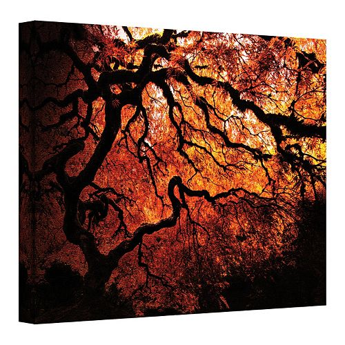 24'' x 32'' ''Japanese Tree'' Red Canvas Wall Art by John Black