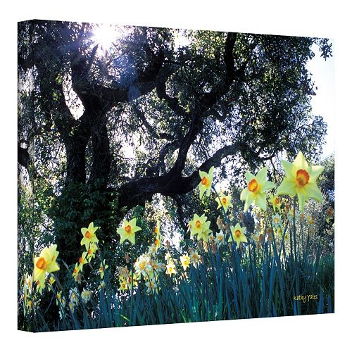 24'' x 36'' ''Daffodils and The Oak'' Canvas Wall Art by Kathy Yates
