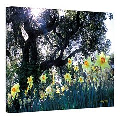 32'' x 48'' ''Daffodils and The Oak'' Canvas Wall Art by Kathy Yates
